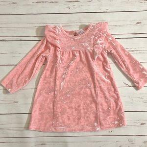Healthtex Pink Velvet Dress with ruffles